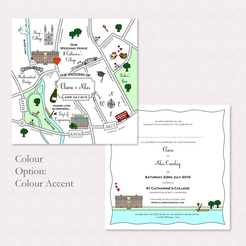 Wedding Invitations With Maps: Cute Map Postcard Invitation/Save The Date/Info Card