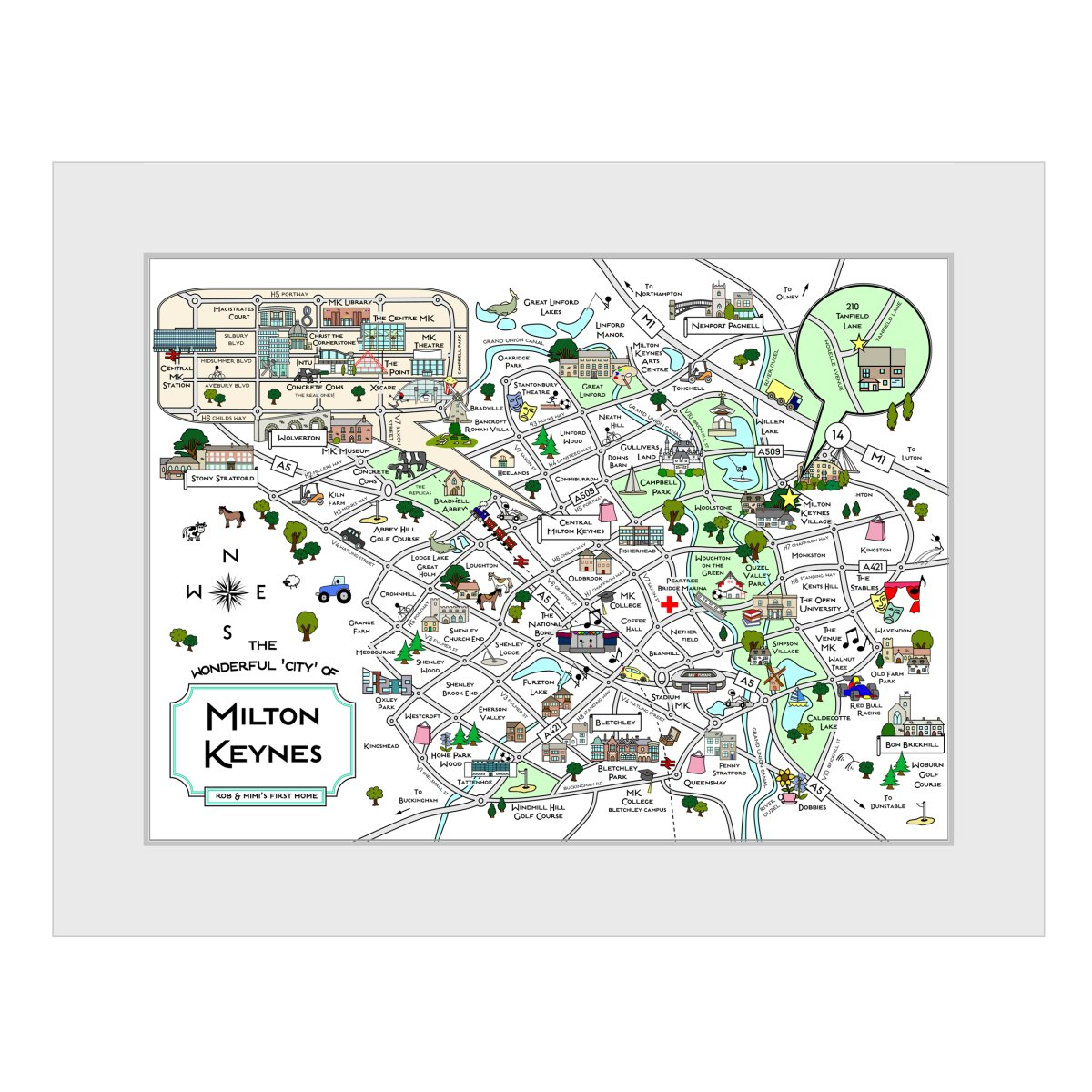 Personalised Milton Keynes Cute Map