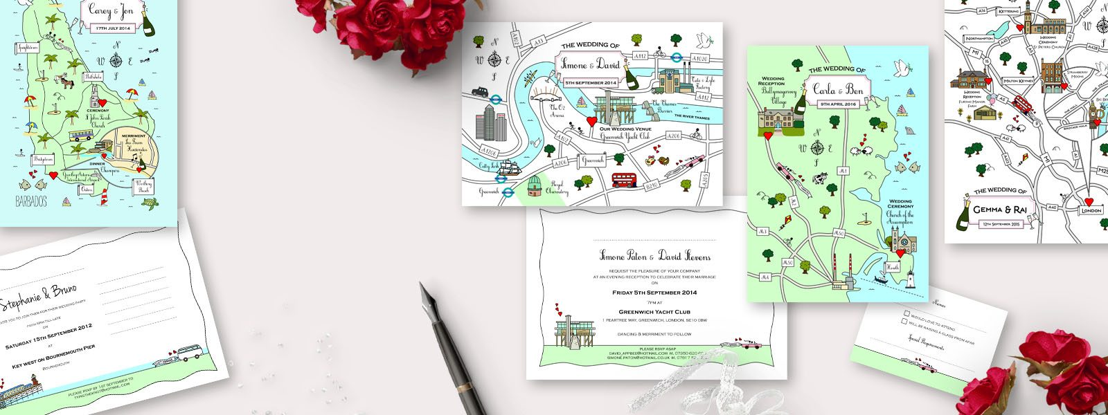Chic Unique CUTE MAP INVITATIONS