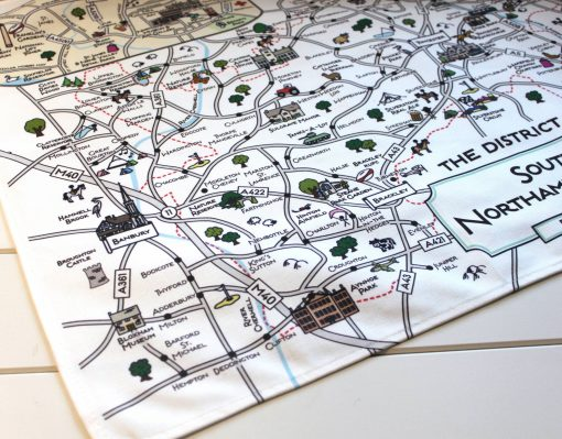 South Northants map tea towel