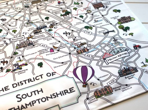 South Northamptonshire map tea towel